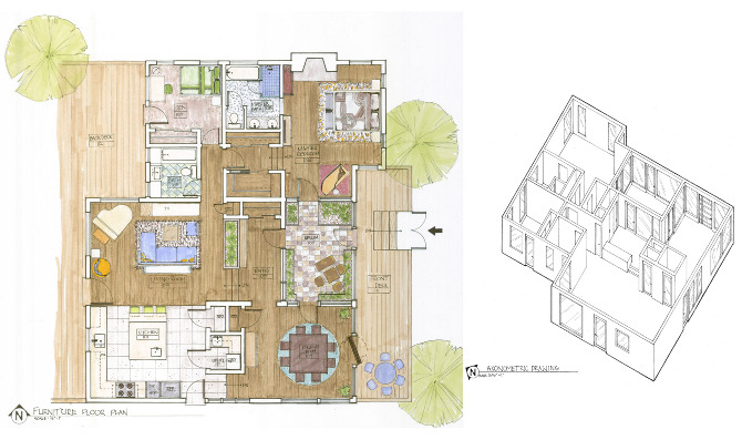 Residential Concept Design Hand Drafting Rendering